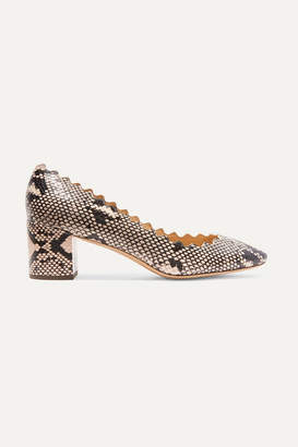 Chloé Lauren Scalloped Snake-effect Leather Pumps - Snake print