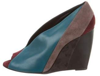 Pierre Hardy Leather Peep-Toe Wedges