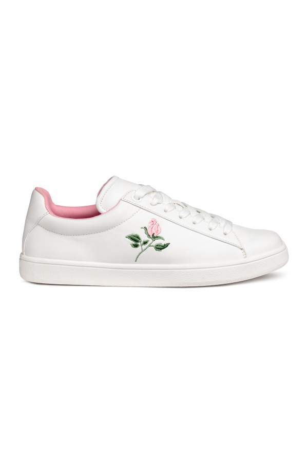 H&M Sneakers with Embroidery - White/rose - Women