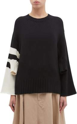 MRZ Convertible rib cuff stripe sleeve sweater