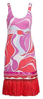 Emilio Pucci Women's Sable Embellished Hem Print Tank Dress