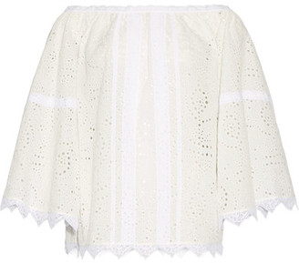 Burberry - Off-the-shoulder Lace-trimmed Broderie Anglaise Cotton-blend Top - White $550 thestylecure.com