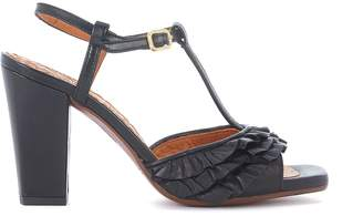 Chie Mihara (チエ ミハラ) - Chie Mihara Brunella Black Leather Heeled Sandal