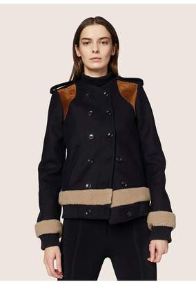 Derek Lam Cropped Coat With Shearling Detail