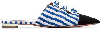 Aquazzura black, blue and white mondaine stripe flat leather pumps