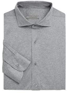 Corneliani Knit Jersey Woven Button-Down Shirt