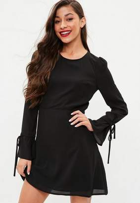 Missguided Black Long Sleeve Open Back Skater Dress