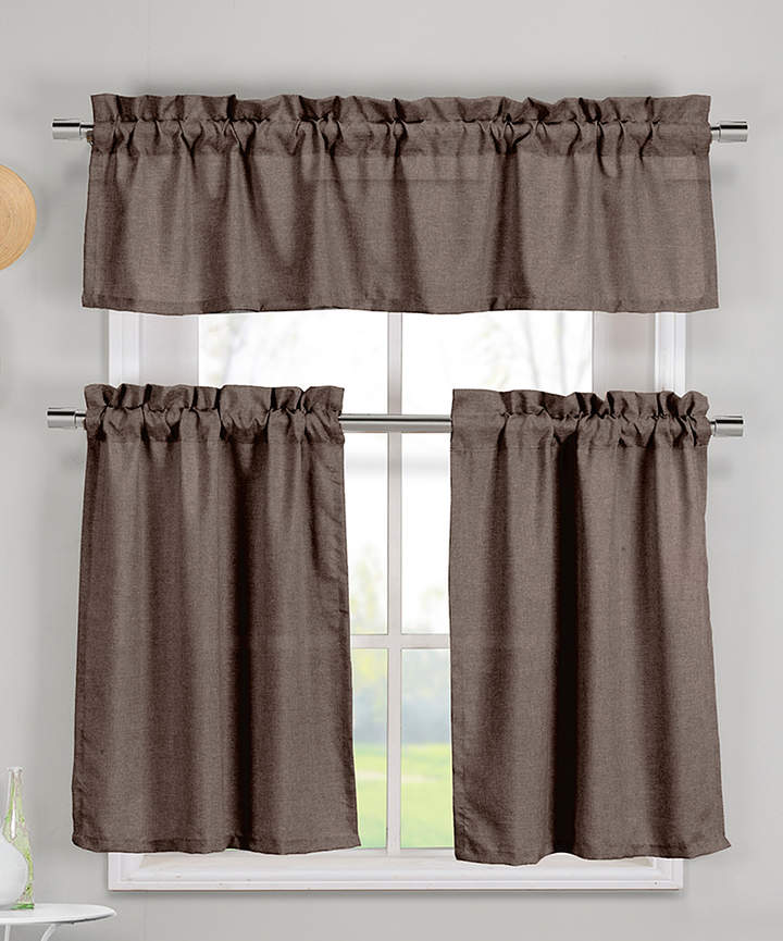 Chocolate Benneton Three-Piece Curtain Panel Set