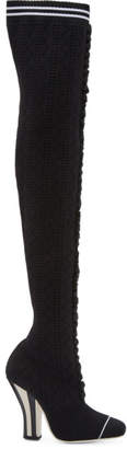 Fendi Black Scuba Sock Over-the-Knee Boots