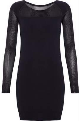 Maison Margiela Mesh-Paneled Cotton-Blend Jersey Mini Dress