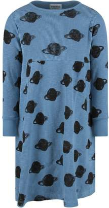 Bobo Choses Light Blue Girl Dress With Black Saturn