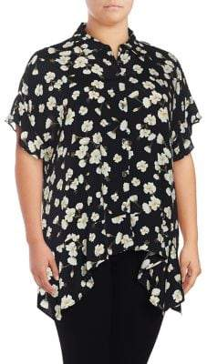 Lord & Taylor Plus Sofia Floral Button Front Shirt