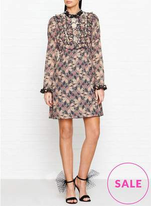 Anna Sui Deco Dotted Flowers And Leaves Bib Dress
