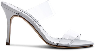 Manolo Blahnik PVC Scolto Sandals in White Leather | FWRD