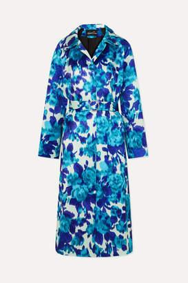 Richard Quinn Crystal-embellished Belted Floral-print Duchesse-satin Coat - Blue