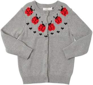 Stella McCartney Ladybugs Cotton Intarsia Knit Cardigan