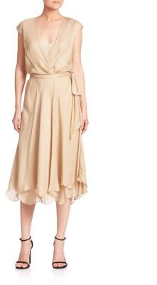 Polo Ralph Lauren Silk Gauze Wrap Dress $398 thestylecure.com