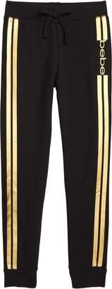 Bebe Metallic Logo Stripe Jogger Pants