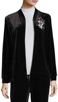 Joan Vass Embroidered Velvet Jacket, Plus Size
