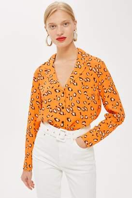 Topshop PETITE Leopard Print PJ Blouse