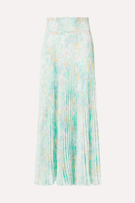 Prada Floral-print Pleated Crepe De Chine Skirt - Light green