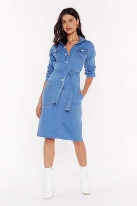 Nasty Gal Womens Pressin' Them Buttons Denim Midi Dress - Blue - S, Blue