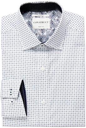 English Laundry Con.Struct White Mini Floral Slim Fit Dress Shirt