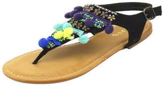 Bamboo Black Pompom Sandals $36 thestylecure.com