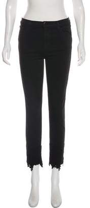 J Brand Mid-Rise Lace-Trimmed Jeans