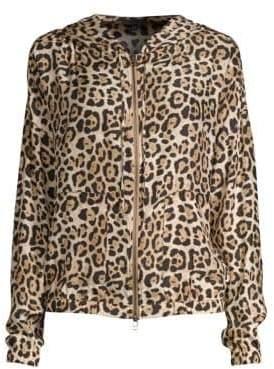 ATM Anthony Thomas Melillo Silk Leopard-Print Zip-Up Hoodie