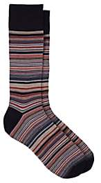 Corgi Men's Fine-Striped Wool-Blend Mid-Calf Socks - Rust