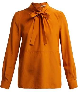 Bottega Veneta Tie Front Silk Blouse - Womens - Dark Orange
