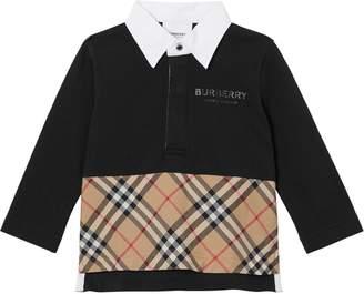 Burberry L/s Logo Print Cotton Piquet Polo Shirt
