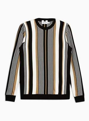 Topman Mens Brown Camel and Black Vertical Stripe Sweater