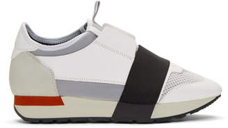 Balenciaga White and Red Race Sneakers