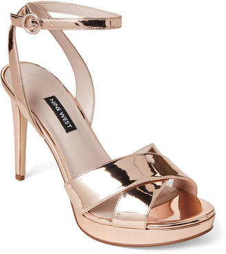 7854da21841 Nine West Rose Gold Quisha Platform Patent Sandals