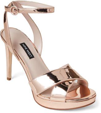 7854da21841 Nine West Rose Gold Quisha Platform Patent Sandals