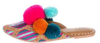 Figue Embroidered Pom-Pom Mules