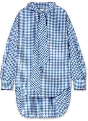 Balenciaga New Swing Checked Cotton-poplin Shirt - Blue