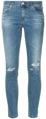 AG Jeans distressed leg five-pocket cropped skinny jeans