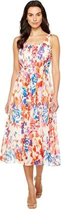 Donna Morgan Women's Pleat Front Chiffon Maxi Dress