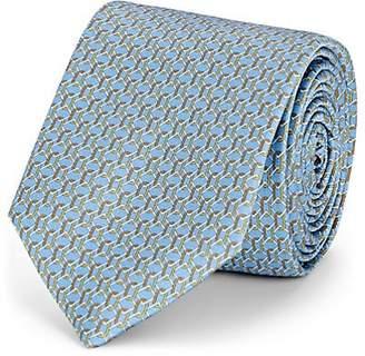 Barneys New York Men's Chain-Link-Pattern Silk Satin Necktie - Lt. Blue
