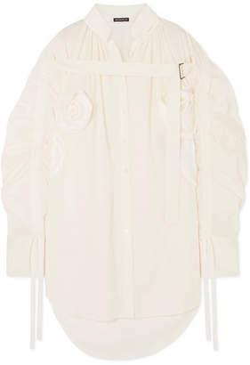 Ann Demeulemeester Appliquéd Ruched Cotton Shirt - White