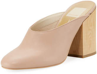Dolce Vita Cicilia Wood-Heel Leather Mule