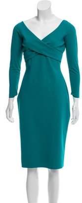 Chiara Boni Long Sleeve Knee-Length Dress Teal Long Sleeve Knee-Length Dress
