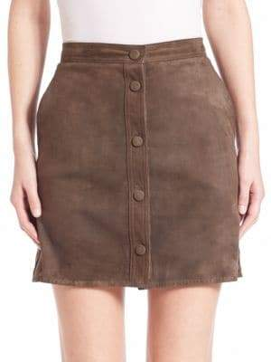 Helmut Lang Suede Button-Down Skirt