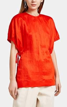 Jil Sander Women's Plissé Puff-Sleeve Top - Bt. Red