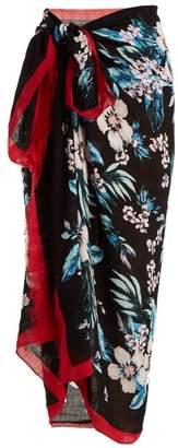 Diane von Furstenberg Bolan Linen Blend Sarong - Womens - Black Print