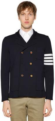 Thom Browne Intarsia Stripes Merino Wool Knit Jacket