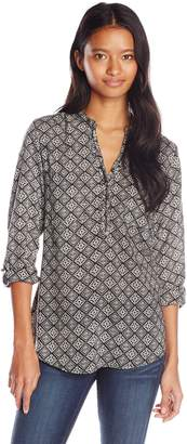 Angie Junior's Printed Long Sleeve Top with Buttons